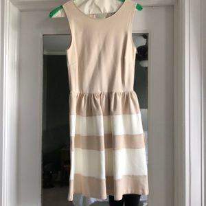 LIKE NEW. Love Ady khaki and white stripe dress